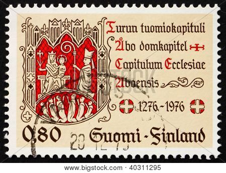 Postage Stamp Finland 1976 Turku Chapter Seal