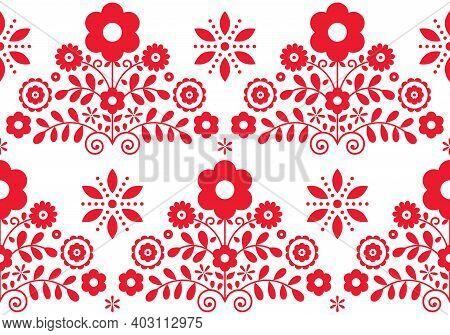 Retro Floral Folk Art Vector Seamless Textile Or Fabric Print Pattern - Polish Folk Art Lachy Sadeck