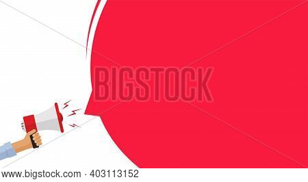 Attention Important Information Message Announcement From Megaphone Loud Speaker Banner Vector Flat