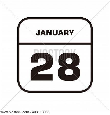 Calendar Icon 28i Solated On White Background, Calendar Icon Vector Flat Modern, Calendar Icon, Cale