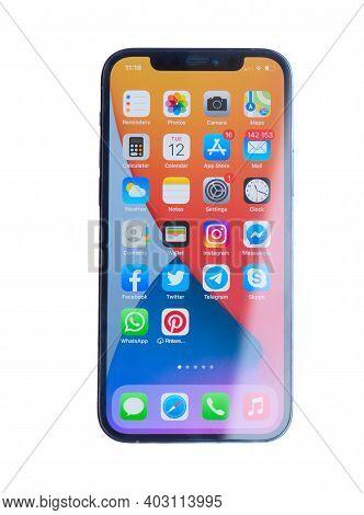 Puerto Cruz, Spain - January 12, 2020: New Iphone 12pro Isolated On White Background