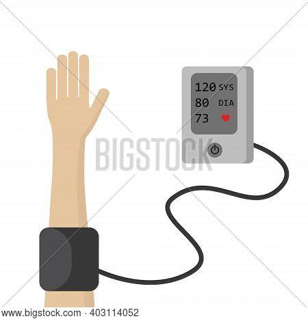 The Man Measures The Blood Pressure With Digital Tonometer Device. Medical Equipment Sphygmomanomete