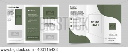 Trifold Brochure Mockup. Trifold Magazine. Green Presentation Mockup. Brochure Cover Vector. Editabl
