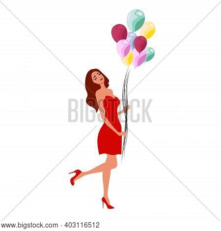Happy Beautiful Woman Holding Colorful Balloons Isolated On White Background Flat Vector Illustratio