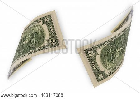 Two Dollars Isolated On A White Background. Notes In Denomination Of Two Dollars. The Edge Of The Ba