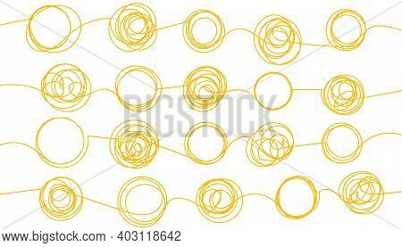 Background With Tangled And Unraveled Doodle Hand Drawn Tangles. Abstract Backdrop For Web Design. B