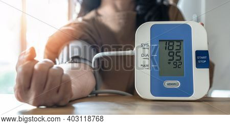 Hypertension Or High Blood Pressure Illness In Patient With Blood Pressure Monitoring, Measurement O