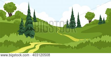Landscape. Summer View Of The Forest Park. Horizontal Panorama Of The Country Landscape. Vector