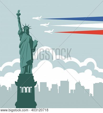 Travel Banner With The Statue Of Liberty, Flying Planes And Silhouettes Of New York Skyscrapers. Vec