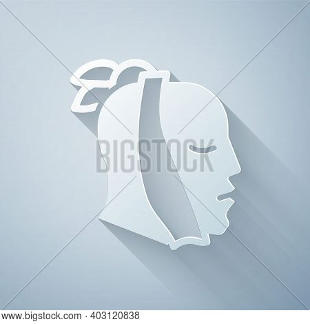 Paper Cut Toothache Icon Isolated On Grey Background. Paper Art Style. Vector