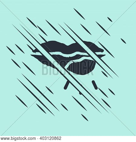Black Herpes Lip Icon Isolated On Green Background. Herpes Simplex Virus. Labial Infection Inflammat