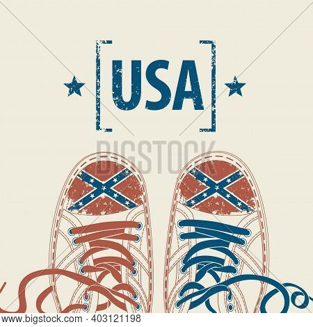 Vector Banner With Words Made In Usa And Stylized Sneakers With American Confederate Rebel Flag Colo