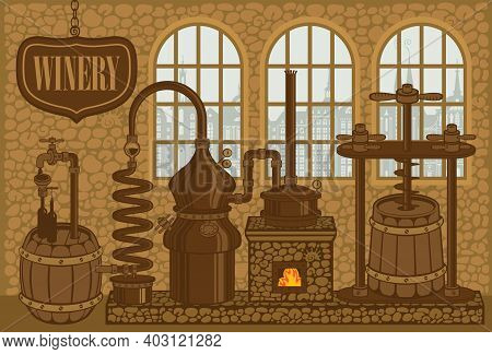 Vector Banner For Winery With An Old Winemaking Equipment. Decorative Illustration Of Winery Plant F