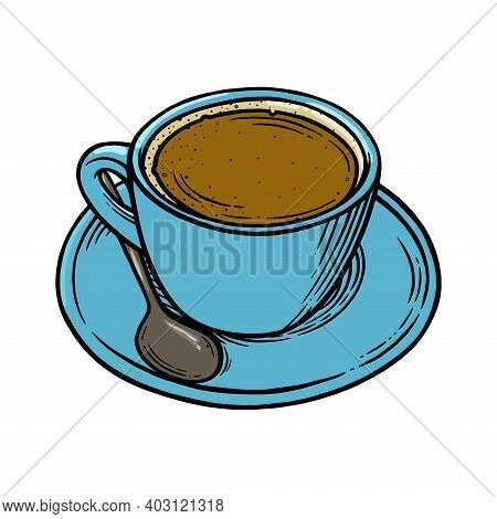 Coffee Cup With Americano. Cup, Spoon And Saucer Set For Hot Coffee. Engraved Vector Ilustration