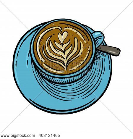 Coffee Cup With Cappuccino. Engraved Sketch Of Coffee Mug. Vector Illustration