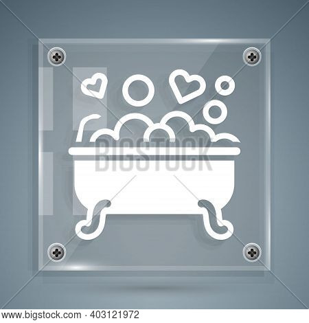 White Romantic In Bathroom Icon Isolated On Grey Background. Concept Romantic Date. Romantic Bathroo