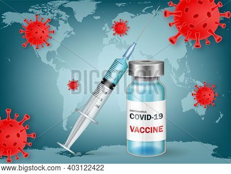 Covid-19 Coronavirus Vaccine. Syringe And Vaccine Vial Flat Icons. Covid-19 Corona Virus Vaccination