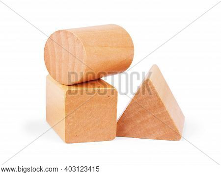 Photo Of A Wooden Toy Children's Sorter With Small Wooden Details In The Form Of Geometric Shapes (r