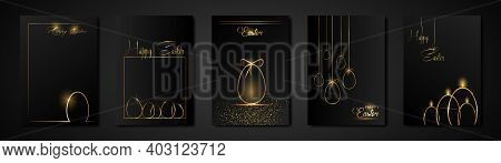 Set Cards Happy Easter Gold Texture, Golden Luxury Black Modern Background. Easter Holiday Invitatio