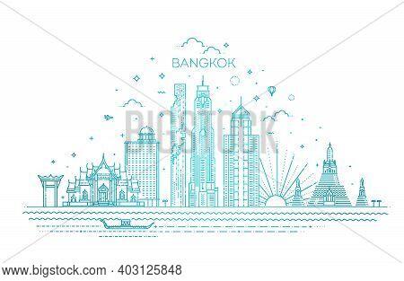 Banner Of Bangkok City Skyline In Flat Line Trendy Style. Bangkok City Line Art
