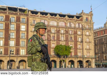 Mexico City - Jan. 17, 2020: Raising Flag Guard Of Honor Standing On Zocalo At Historic Center Of Me