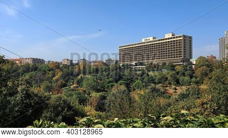 ISTANBUL, TURKEY - OCTOBER 05, 2020. Panoramic view of the Macka Democracy Park in front of the Hilton Bosphorus Hotel. Sisli district, city of Istanbul, Turkey.