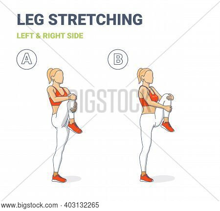 Standing Gluteus Maximus Stretch Girl Home Workout Exercise Guide. Female Doig Relaxation Leg Stretc