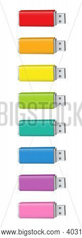 Colorful Usb Flash Drives Or Usb Sticks. Colored Collection Of Thumb Drives - Red, Orange, Yellow, G