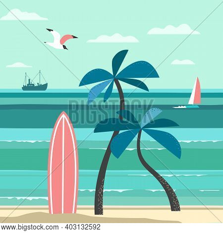 Nostalgic Tropical Nature Vacation Vector Poster. Vintage Holiday Print, Rest Advertisement Banner T