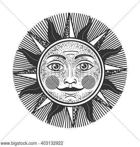 Sun Witn Face Sketch Engraving Vector Illustration. T-shirt Apparel Print Design. Scratch Board Imit