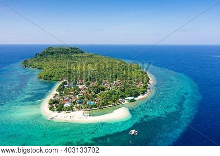 Himokilan Island, Leyte Island, Philippines. Tropical Island With A Village And A White Beach. Turqu