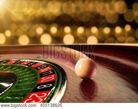 inside the Roulette wheel close up at the Casino - Selective Focus
