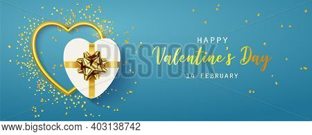 Happy Valentines Day Horizontal Banner For The Website. Romantic Background With Realistic Design El