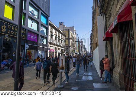 Mexico City - Jan. 14, 2020: Historic Buildings On Avenida Francisco Madero Near Calle De Motolinia