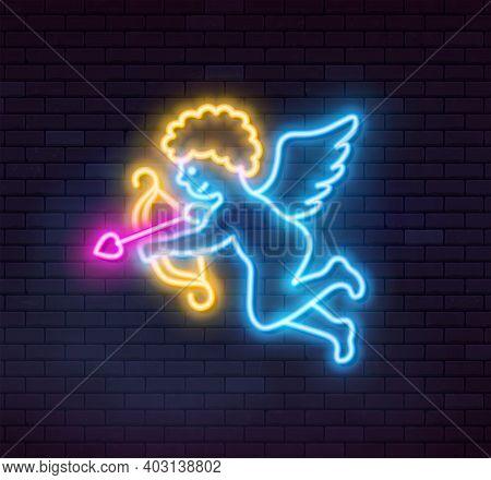 Neon Cupid On Dark Background. Vector Illustration