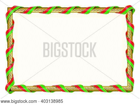 Horizontal  Frame And Border With Burkina Faso Flag, Template Elements For Your Certificate And Dipl