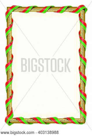 Vertical  Frame And Border With Burkina Faso Flag, Template Elements For Your Certificate And Diplom