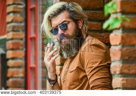 Smoking Habit. Harmful For Your Health. Smoke Nicotine Addicted. He Is Heavy Smoker. Bearded Man In