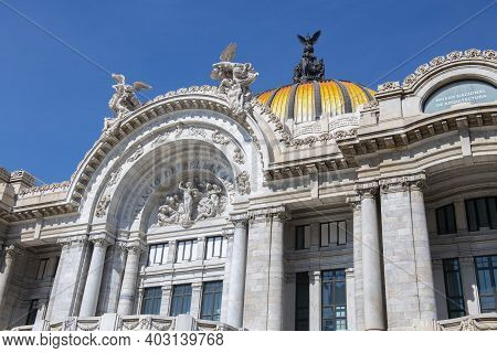 Mexico City - Jan. 14, 2020: Palacio De Bellas Artes Palace Of Fine Arts In Historic Center Of Mexic