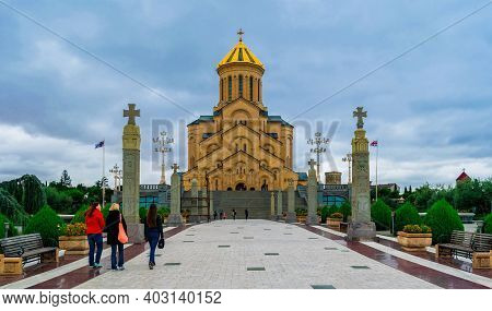 Tbilisi, Georgia - September 28, 2017: Holy Trinity Cathedral Of Tbilisi Is The Main Cathedral Of Th