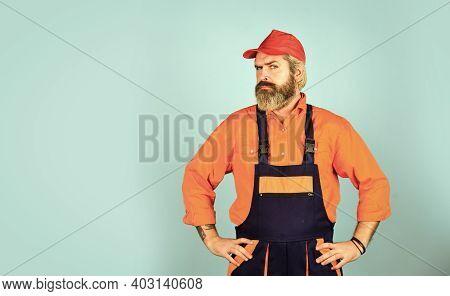 Renovation Concept. Mechanic Perform Technical Work. Electrician Plumber Handyman. Call Master. Man