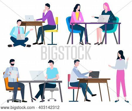 Man And Woman Working In Office Vector, Isolated Set Of Workers. Boss And Employees, Developers With