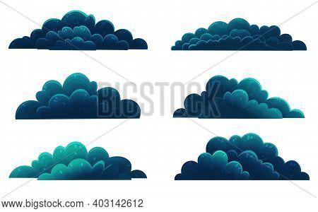 Set Of Dark Blue Shrubs, Forest Vegetation. Cartoon Flat Style, Mixed Forest Shrubs. Hazel, Hawthorn