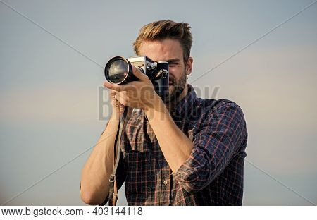 A New Moment Captured. Photographer In Glasses. Capture Adventure. Journalist. Travel With Camera. M