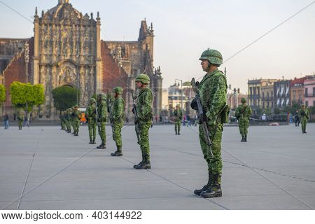 Mexico City - Jan. 15, 2020: Raising Flag Guard Of Honor Standing On Zocalo At Historic Center Of Me