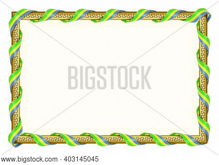 Horizontal  Frame And Border With Gabon Flag, Template Elements For Your Certificate And Diploma. Ve