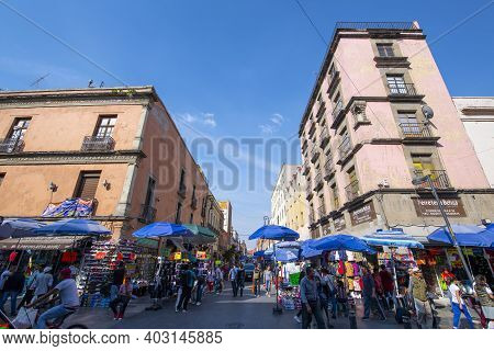 Mexico City - Jan. 15, 2020: Historic Buildings On Corregidora Street At La Academia Street In Histo