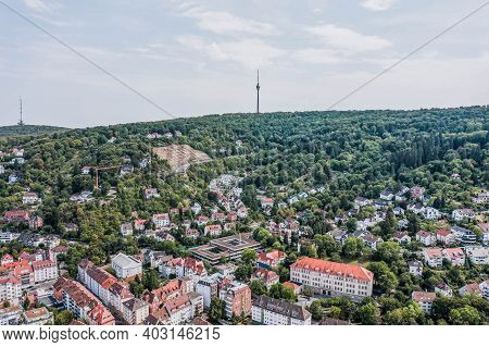 Aerial Drone Shot Of Tv Tower On The Hill Near Stuttgart Suburb Hill