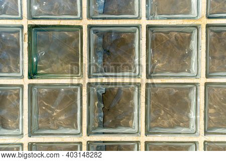 Close-up Of Glass Blocks On The Exterior Wall Of A Building