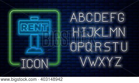 Glowing Neon Hanging Sign With Text Rent Icon Isolated On Brick Wall Background. Signboard With Text